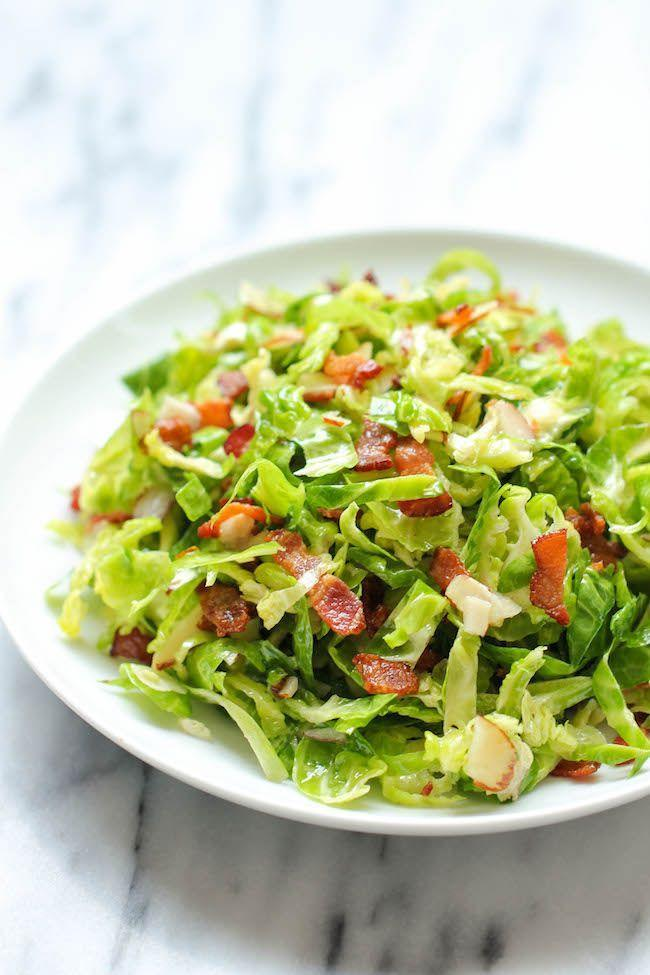 """<p>Instead of making Brussels sprouts and a salad separately, combine the two in this easy recipe.</p><p><strong>Get the recipe at <a href=""""https://damndelicious.net/2013/11/18/brussels-sprouts-salad/"""" rel=""""nofollow noopener"""" target=""""_blank"""" data-ylk=""""slk:Damn Delicious"""" class=""""link rapid-noclick-resp"""">Damn Delicious</a>. </strong> </p>"""