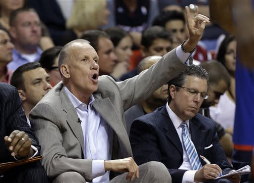 Philadelphia 76ers coach Doug Collins gestures during the first half of the 76ers' NBA basketball game against the Miami Heat, Saturday, April 6, 2013, in Miami. (AP Photo/Lynne Sladky)