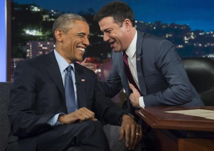Former President Barack Obama visits 'Jimmy Kimmel Live!' in 2015 (AFP via Getty Images)