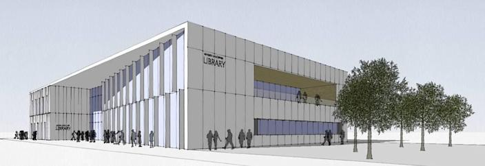 A rendering of what the Charlotte Mecklenburg Library branch in University City could look like if it is relocated to the Waters Edge development.
