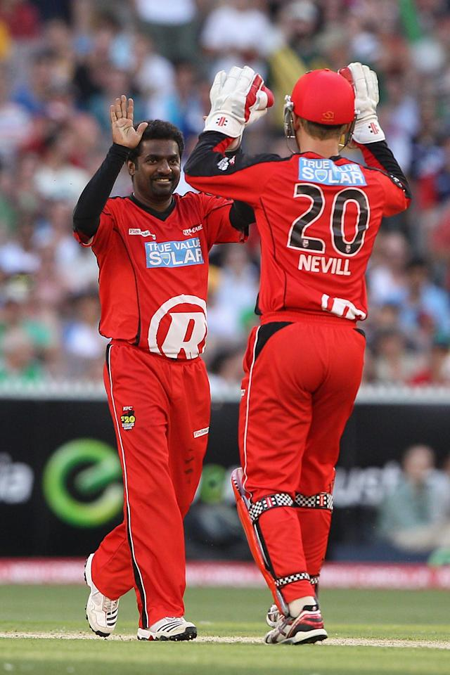 MELBOURNE, AUSTRALIA - JANUARY 06:  Muttiah Muralitharan of the Renegades celebrates the wicket of Cameron White of the Stars during the Big Bash League match between the Melbourne Stars and the Melbourne Renegades at Melbourne Cricket Ground on January 6, 2013 in Melbourne, Australia.  (Photo by Robert Prezioso/Getty Images)