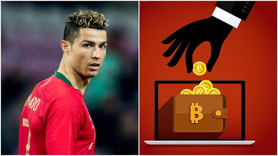 This evil bitcoin scam is using a FAKE endorsement from football leged Cristiano Ronaldo to lure investors into giving their money to crypto fraudsters. | Source: Shutterstock. Image Edited by CCN.