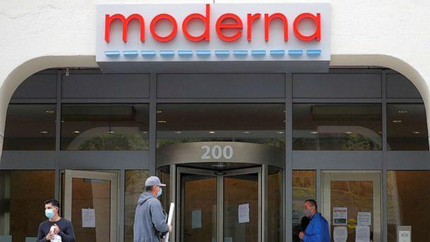 PHOTO: A sign marks the headquarters of Moderna, an American biotechnology company that is developing a vaccine against COVID-19, in Cambridge, Massachusetts, on May 18, 2020. (Brian Snyder/Reuters)