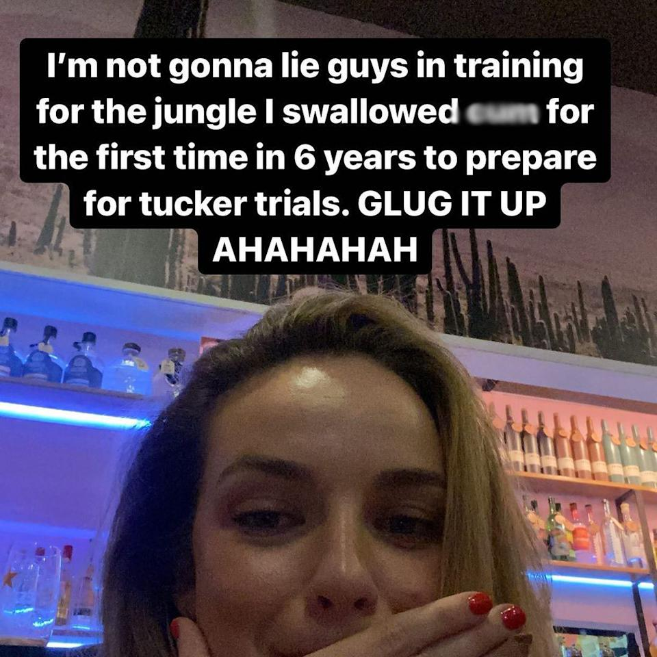 Abbie Chatfield has revealed the rather X-rated 'training' she underwent before appearing on I'm A Celebrity this year. Photo: Instagram/abbiechatfield.