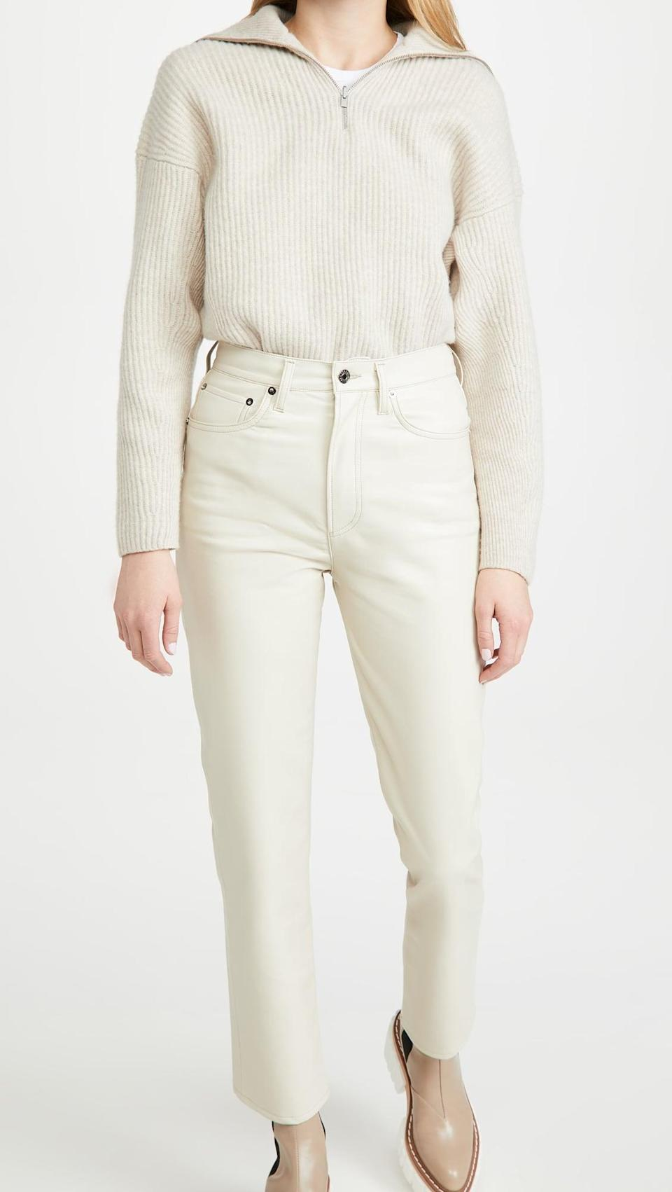 <p>Leather is one fabric we can always get behind. These <span>AGOLDE Recycled Leather Fitted 90's Pants</span> ($298) are crisp and chic.</p>