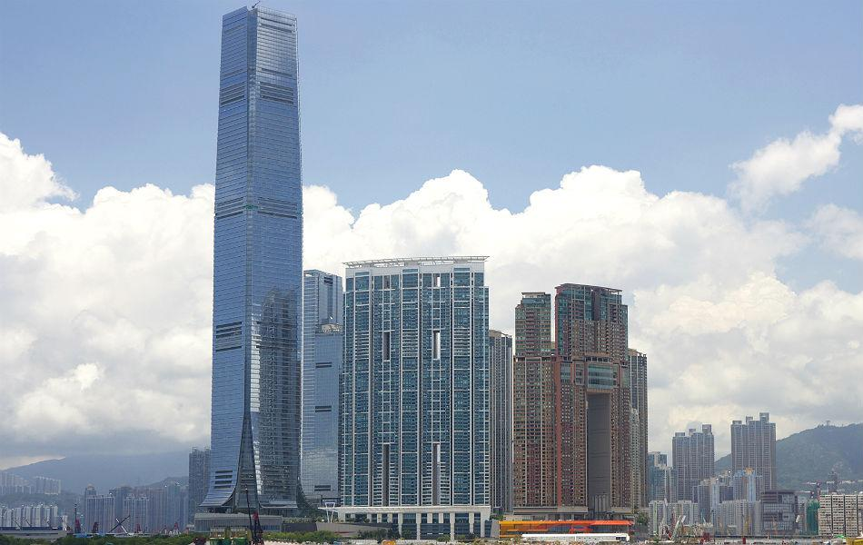 The International Commerce Center in Hong Kong was built in 2010. It is 484m high, and has 108 floors.
