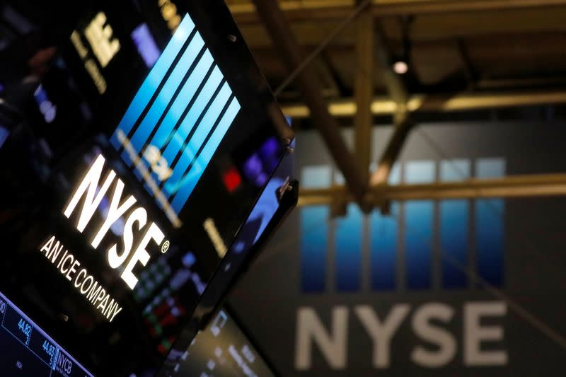 Signage is seen on the trading floor at the New York Stock Exchange (NYSE) in Manhattan, New York City