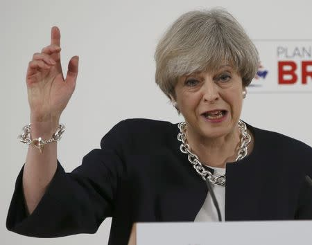 Britain's Prime Minister, Theresa May, delivers a speech to launch the Conservative Party's local elections campaign, in Calverton Village Hall, Calverton