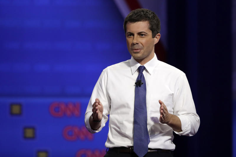 Democratic presidential candidate South Bend Mayor Pete Buttigieg speaks during the Power of our Pride Town Hall Thursday, Oct. 10, 2019, in Los Angeles. The LGBTQ-focused town hall featured nine 2020 Democratic presidential candidates. (AP Photo/Marcio Jose Sanchez)