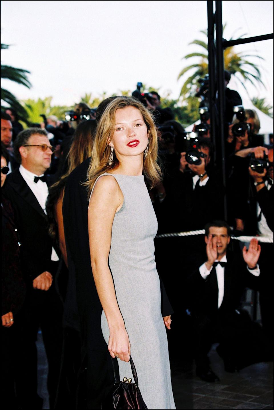 <p>Business chic is the mode of dress for Kate at the 1997 Cannes Film Festival</p>