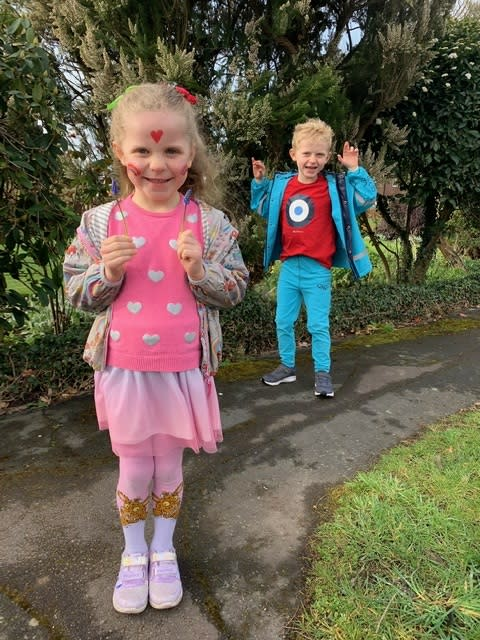 Children dressed in their most colourful clothes to combat the coronavirus gloom in a Buckinghamshie village
