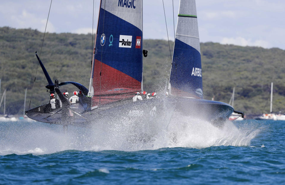 American Magic races Italy's Luna Rossa in the America's Cup challenger series semifinals on Auckland's Waitemate Harbour, New Zealand, Saturday, Jan. 30, 2021. (Dean Purcell/NZ Herald via AP)