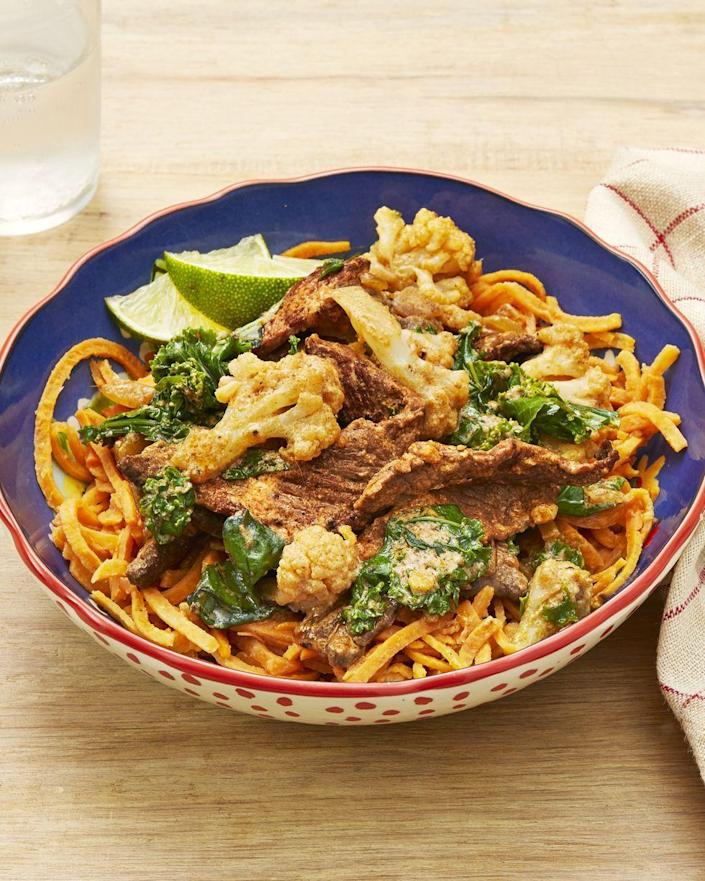 """<p>Stir leftover sirloin steak into a coconut curry sauce and serve over tasty sweet potato noodles for a quick and easy meal.</p><p><a href=""""https://www.thepioneerwoman.com/food-cooking/recipes/a32269700/beef-curry-with-sweet-potato-noodles-recipe/"""" rel=""""nofollow noopener"""" target=""""_blank"""" data-ylk=""""slk:Get Ree's recipe."""" class=""""link rapid-noclick-resp""""><strong>Get Ree's recipe. </strong></a></p>"""