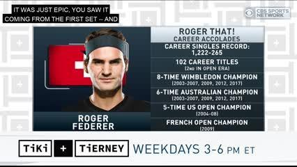 Tiki and Tierney discuss the close match between Novak Djokovic and Roger Federer in the 2019 Wimbledon finals.