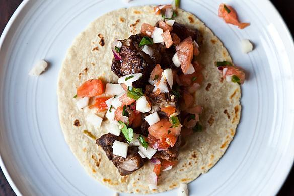 Braised Pork Belly Tacos with Watermelon, Jicama & Jalapeño Salsa