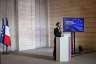 French President Emmanuel Macron delivers a press conference after a European Council summit held over video-conference, in Paris