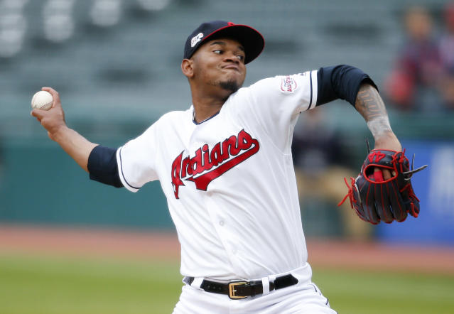 Cleveland Indians starting pitcher Jefry Rodriguez delivers against the Chicago White Sox during the first inning of a baseball game, Tuesday, May 7, 2019, in Cleveland. (AP Photo/Ron Schwane)