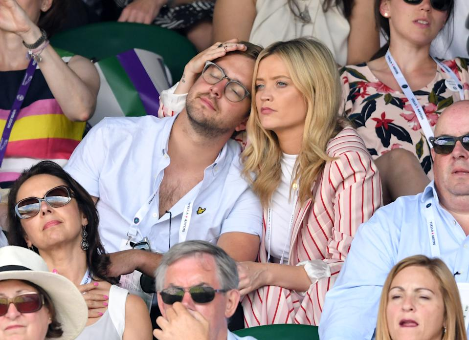 LONDON, ENGLAND - JULY 07:  Iain Stirling and Laura Whitmore attend day six of the Wimbledon Tennis Championships at the All England Lawn Tennis and Croquet Club on July 7, 2018 in London, England.  (Photo by Karwai Tang/WireImage )