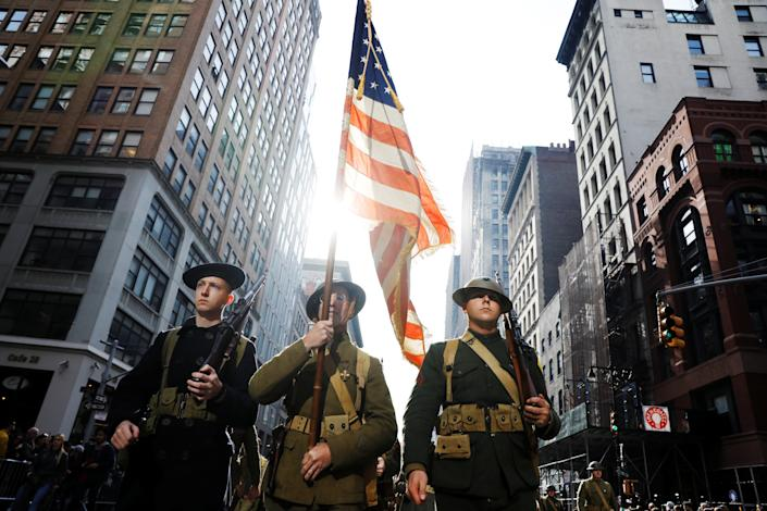 Men dressed as WWI era soldiers take part in the Veterans Day parade in New York on Nov. 11, 2019. (Photo: Brendan McDermid/Reuters)