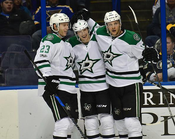 "<a class=""link rapid-noclick-resp"" href=""/nhl/teams/dal/"" data-ylk=""slk:Dallas Stars"">Dallas Stars</a> defenseman Esa Lindell, Dallas Stars defenseman <a class=""link rapid-noclick-resp"" href=""/nhl/players/5104/"" data-ylk=""slk:John Klingberg"">John Klingberg</a>, and Dallas Stars center <a class=""link rapid-noclick-resp"" href=""/nhl/players/5693/"" data-ylk=""slk:Radek Faksa"">Radek Faksa</a> celebrate after a goal in the second period during a NHL game between the Dallas Stars and the St. Louis Blues on January 07, 2017, at Scottrade Center in St. Louis, MO. The Blues beat the Stars, 4-3. (Getty Images)"