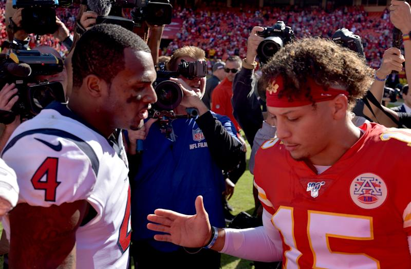 Oct 13, 2019; Kansas City, MO, USA; Houston Texans quarterback Deshaun Watson (4) and Kansas City Chiefs quarterback Patrick Mahomes (15) shake hands after the game at Arrowhead Stadium. Mandatory Credit: Denny Medley-USA TODAY Sports