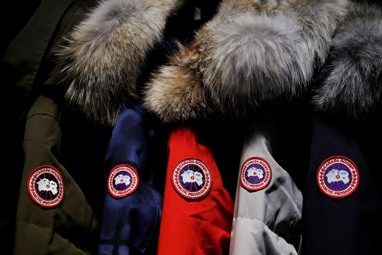 Jackets hang in the showroom of the Canada Goose factory in Toronto, Ontario, Canada, February 23, 2018. REUTERS/Mark Blinch