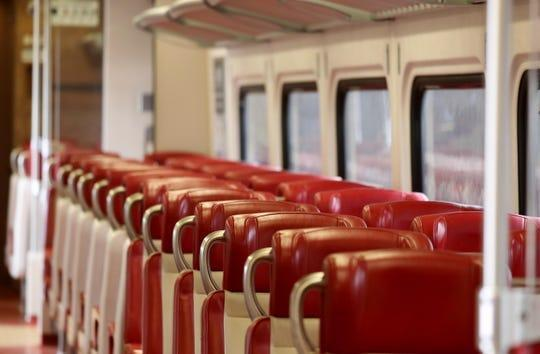 As the coronavirus pandemic kept all but essential workers at home,one Metro-North Railroad New Haven Line train car was totally empty March 25, 2020.