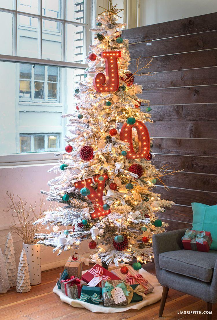 """<p>Everything about this tree is absolutely stunning, so if you want to take you your family's breath away, this is how. The red, white and teal decorations perfectly complement each other and make for <em>the</em> Christmas tree of the year. </p><p><strong><em>Get the tutorial at <a href=""""https://go.redirectingat.com?id=74968X1596630&url=https%3A%2F%2Fliagriffith.com%2Fchristmas-in-technicolor%2F&sref=https%3A%2F%2Fwww.womansday.com%2Fhome%2Fhow-to%2Fg2025%2Fchristmas-tree-decorations%2F"""" rel=""""nofollow noopener"""" target=""""_blank"""" data-ylk=""""slk:Lia Griffith"""" class=""""link rapid-noclick-resp"""">Lia Griffith</a>.</em></strong></p>"""