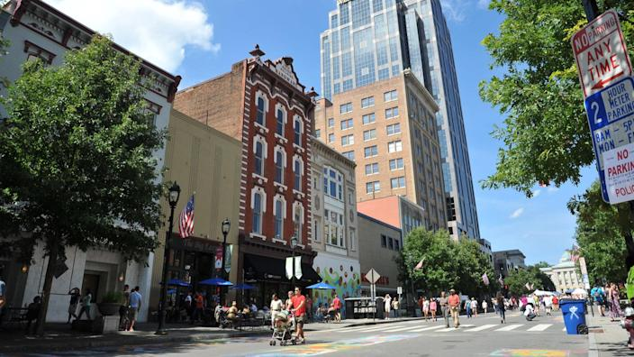 visitors in downtown Raleigh North Carolina on Fayetteville Street