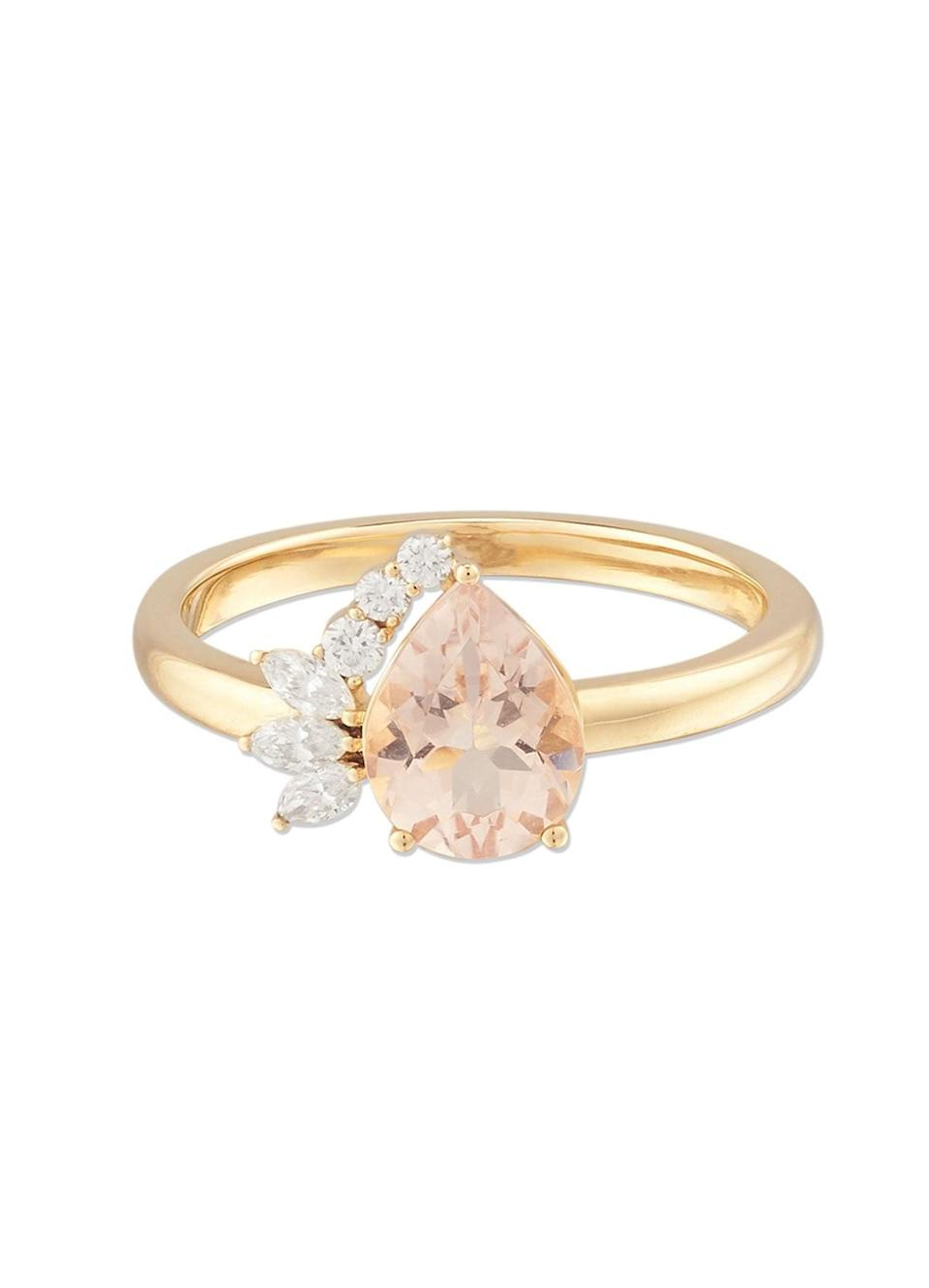 """You probably know Mejuri for its thin gold hoops and stackable chains, but the brand also sells a number of engagement-friendly styles, like this pear-cut ring. The six diamonds on the side are a mix of marquise and round cuts, and the center stone is an ethically-sourced and certified peach morganite. $650, Mejuri. <a href=""""https://mejuri.com/shop/products/pear-cut-ring-peach"""" rel=""""nofollow noopener"""" target=""""_blank"""" data-ylk=""""slk:Get it now!"""" class=""""link rapid-noclick-resp"""">Get it now!</a>"""