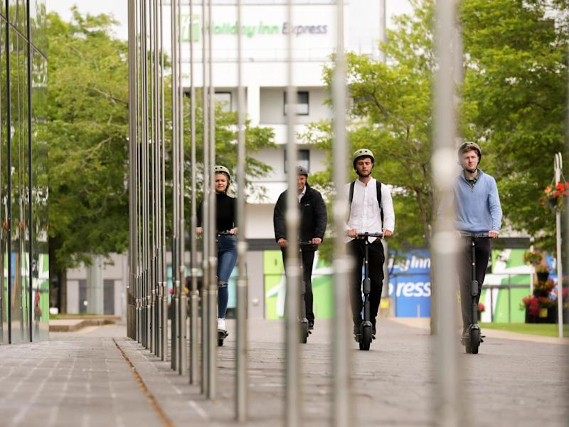Riders using the new e-scooters in Middlesbrough: Tees Valley