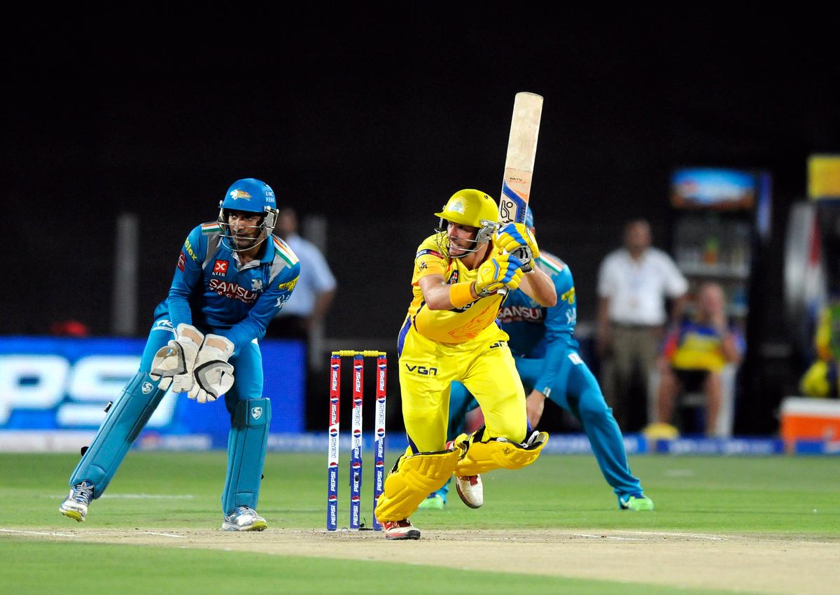 Michael Hussey of Chennai Super Kings bats during match 42 of the Pepsi Indian Premier League ( IPL) 2013  between The Pune Warriors India and the Chennai Superkings held at the Subrata Roy Sahara Stadium, Pune on the 30th April  2013.(BCCI)