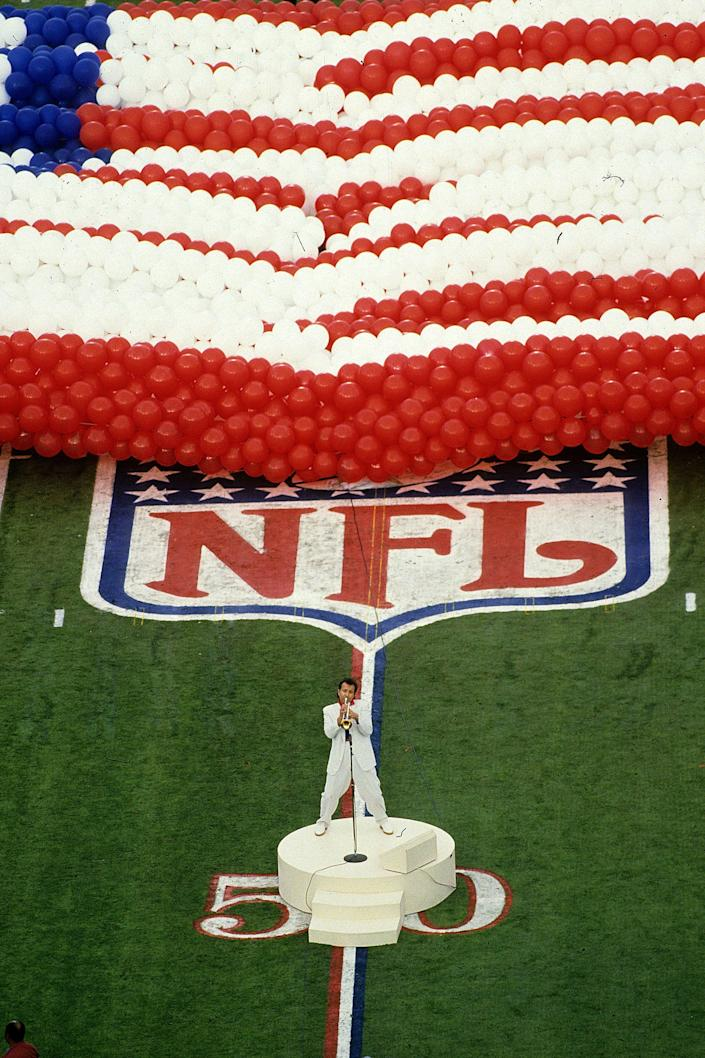 Herb Alpert played the National Anthem prior to the Washington Redskins taking on the Denver Broncos in Super Bowl XXII at the Jack Murphy Stadium on January 31, 1988 in San Diego, California. The Redskins defeated the Broncos 42-10.