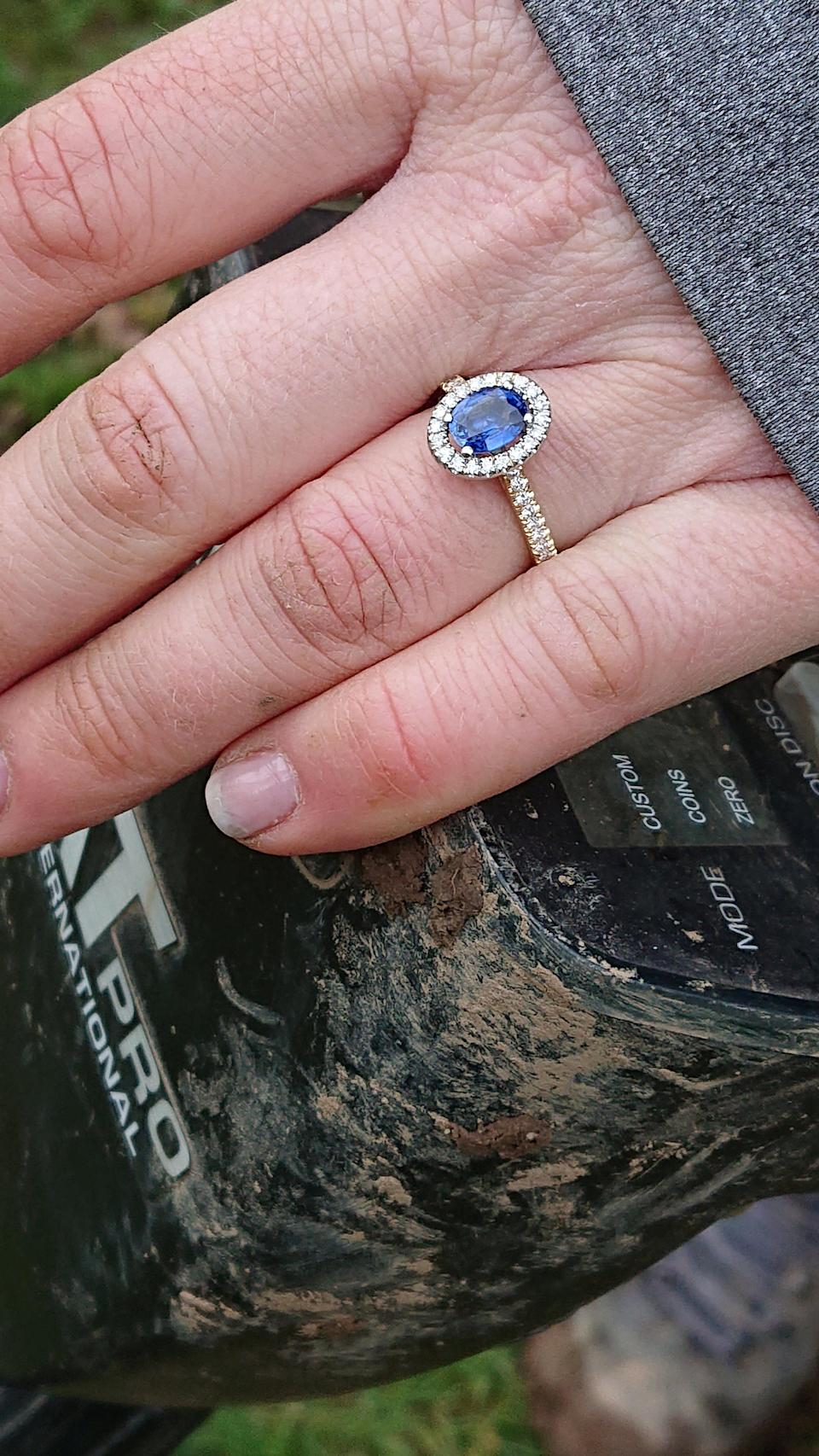 The £2K Sapphire and diamond ring [Photo: SWNS]