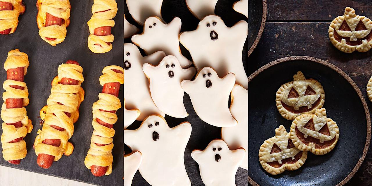 """<p>It's not Halloween without bundles of <a href=""""https://www.delish.com/uk/cooking/recipes/g30778888/party-food/"""" target=""""_blank"""">party food</a>, right? Whether it's <a href=""""https://www.delish.com/uk/cooking/recipes/a34021689/frankestein-pretzels-recipe/"""" target=""""_blank"""">Frankenstein-Shaped Pretzels</a>, <a href=""""https://www.delish.com/uk/cooking/recipes/a34021620/ghost-cookies-recipe/"""" target=""""_blank"""">Ghost Cookies</a> or <a href=""""https://www.delish.com/uk/cooking/recipes/a29352548/mummy-hot-dogs-recipe/"""" target=""""_blank"""">Mummy Hot Dogs</a> (they're actually really cute), there's SO many ways you can adapt your favourite party snacks in ghoulish, scary-good Halloween treats. </p>"""