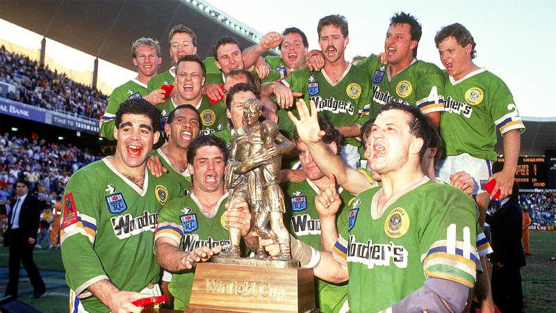 The Canberra Raiders celebrate winning the 1989 NSWRL Grand Final between the Canberra Raiders and the Balmain Tigers on September 24, 1989 in Sydney, Australia. Raiders won 19-14. (Photo by Patrick Riviere/Getty Images)