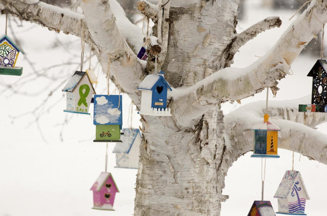 Personalized birdhouses are part of a memorial for the victims of the Sandy Hook Elementary School shooting in Newtown, Connecticut December 14, 2013 . Today marks the one year anniversary of the shooting rampage at Sandy Hook Elementary School, where 20 children and six adults were killed by gunman Adam Lanza. REUTERS/Michelle McLoughlin (UNITED STATES - Tags: CRIME LAW SOCIETY)