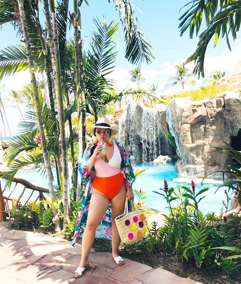 <p>For chilling out by the pool, I wanted to make sure I had a bag that carried everything I needed and a comfy cover-up I could easily throw on whenever. You'll have to hunt down the iced coffee yourself.</p>