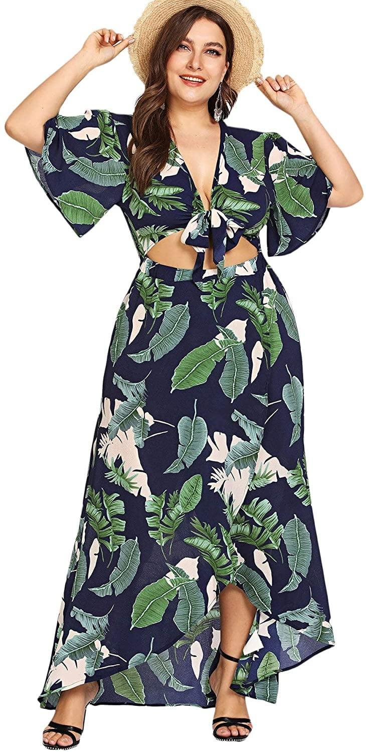 <p>This <span>Floerns Knot Front Deep V Neck Crop Top Tropical Print Maxi Dress</span> ($36) will make you want to book a warm vacation.</p>