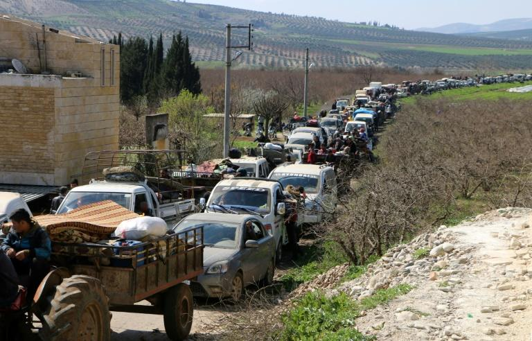 "Civilians have fled Afrin city in recent days as battles rage between Turkish-backed forces and Kurdish fighters Hundreds of civilians fled a Turkish-led advance on Syria's Kurdish-majority city of Afrin on March 12, the Syrian Observatory for Human Rights said, adding that ""more than 2,000 civilians have arrived in the area of Nubul"" controlled by pro-regime forces after fleeing the city"