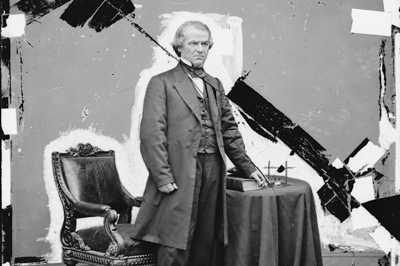 This 1865-1880 photo made available by the Library of Congress shows a damaged glass negative of President Andrew Johnson. Johnson, a Democrat, became vice president under Republican Abraham Lincoln on a unity ticket elected amid the Civil War in 1864. He became president after Lincoln's assassination in April 1865. (Brady-Handy photograph collection/Library of Congress via AP)