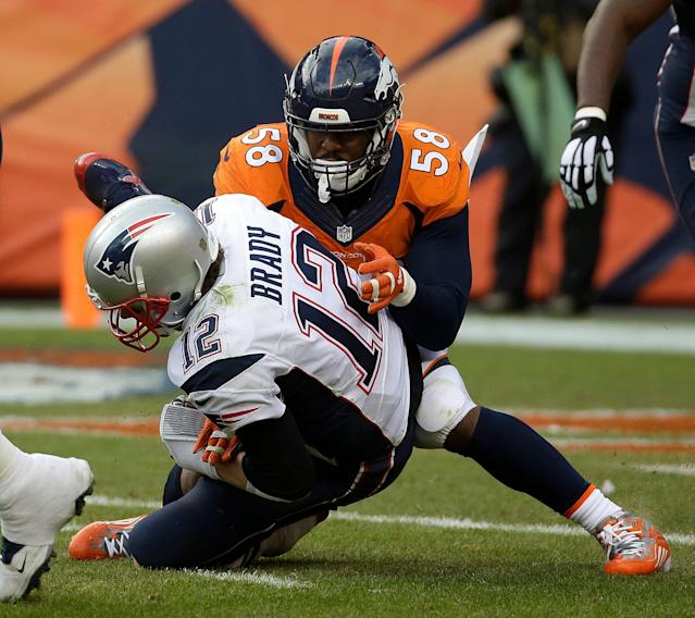 Denver Broncos pass rusher Von Miller said he's a big fan of New England Patriots quarterback Tom Brady - except on Sundays. (AP)