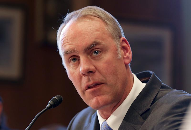 "Interior Secretary Ryan Zinke testifies before the Senate Indian Affairs Committee on ""Identifying Indian Affairs priorities for the Trump Administration"" at the U.S. Capitol in Washington, U.S., March 8, 2017. REUTERS/Joshua Roberts"