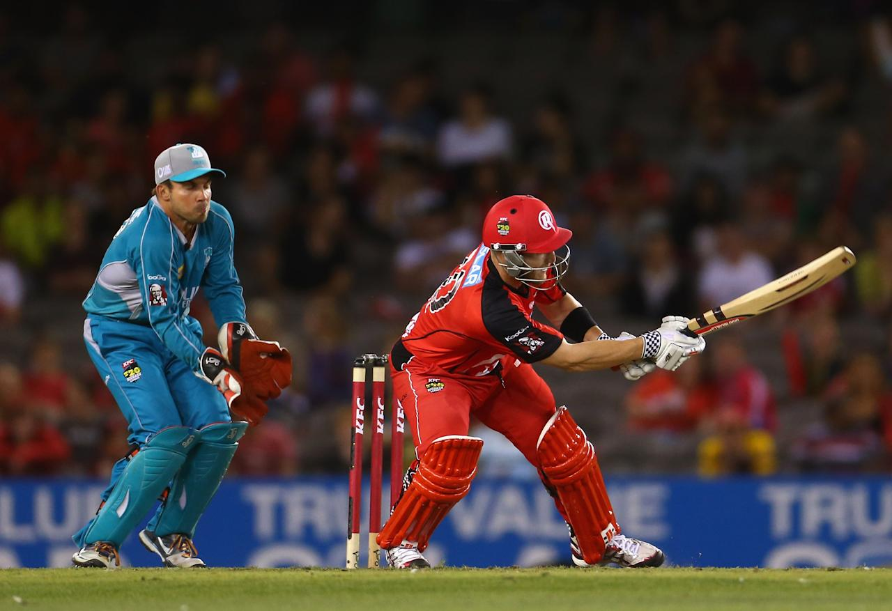 MELBOURNE, AUSTRALIA - JANUARY 15: Ben Rohrer of the Renegades bats during the Big Bash League Semi-Final match between the Melbourne Renegades and the Brisbane Heat at Etihad Stadium on January 15, 2013 in Melbourne, Australia.  (Photo by Robert Cianflone/Getty Images)