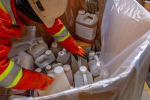 Containers of unwanted, old pesticides and obsolete livestock, equine and farm animal medications recovered at a recent Cleanfarms collection event.