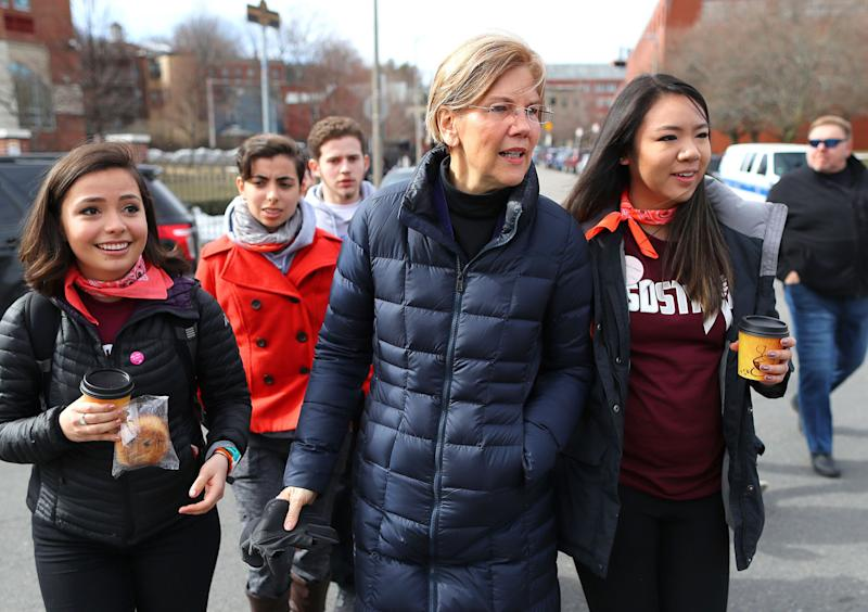 Sen. Elizabeth Warren, a 2020 Democratic presidential candidate, participated in the March for Our Lives in March 2018. She just released a plan to cut violent gun deaths by four-fifths. (Photo: John Tlumacki/The Boston Globe via Getty Images)