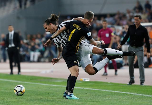 Soccer Football - Greek Cup Final - AEK Athens vs PAOK Salonika - Athens Olympic Stadium, Athens, Greece - May 12, 2018 PAOK Salonika's Aleksandar Prijovic in action with AEK's Ognjen Vranjes REUTERS/Costas Baltas