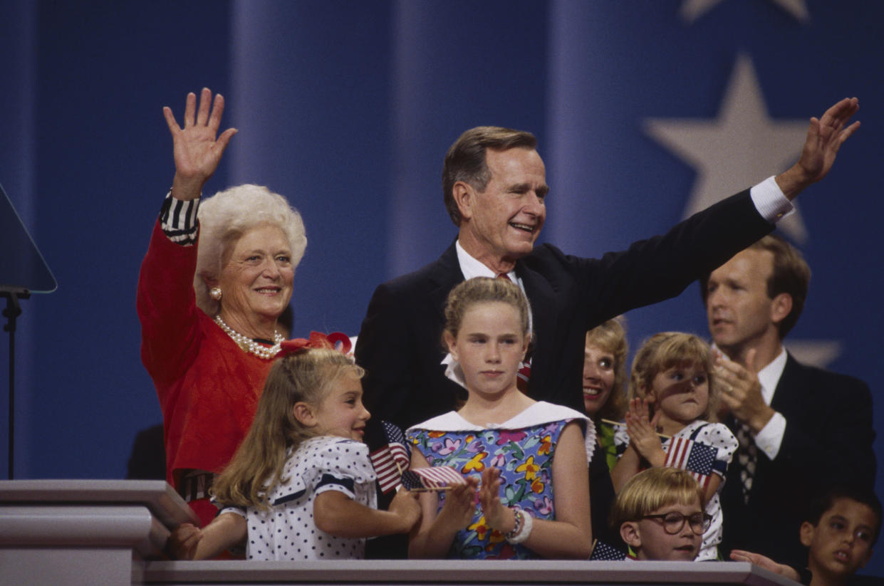 George H.W. Bush and Barbara Bush pose with family as he accepts the Republican nomination for reelection in August 1992. (Photo: Ralf-Finn Hestoft/Corbis via Getty Images)