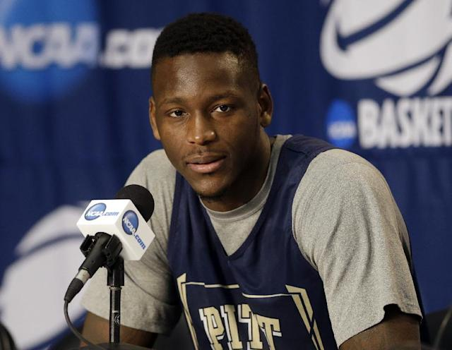 Pittsburgh forward Talib Zanna speaks at the NCAA mens college basketball tournament Friday, March 21, 2014, in Orlando, Fla. Pittsburgh will play Florida in the third-round game on Saturday. (AP Photo/John Raoux)
