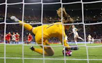 Alyssa Naeher of the USA saves a penalty from Steph Houghton of England during the 2019 FIFA Women's World Cup France Semi Final match between England and USA at Stade de Lyon on July 02, 2019 in Lyon, France. (Photo by Richard Heathcote/Getty Images)